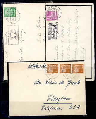 GERMANY SEL OF 6 MOURNING COVERS 1930-50's TO USA