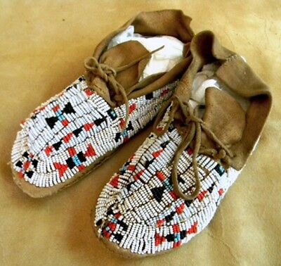 "Vintage Antique 7.75"" Youth Sioux Indian Beaded 1910-1920 Moccasins"