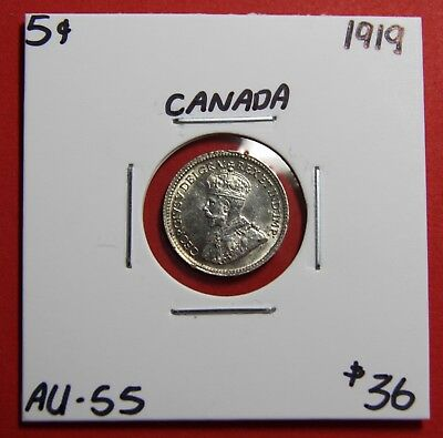 1919 Canada Silver Five 5 Cent Coin J469 - $36 AU - 55