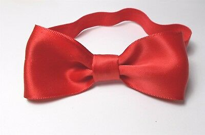 Red Satin Bow Tie - Elastic Band -Toddle,boys,child, Kids - Handmade