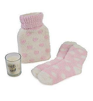 Totes Socks Pink Hot water bottle & scented candle gift set 9145L Brand New