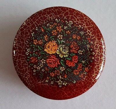 """Collectible Tin Made in England Red Floral Round 5"""" diameter"""