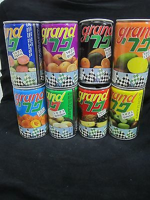 GRAND PRIX - 8 x 330ml empty steel cans,  made in israel, early 80's.