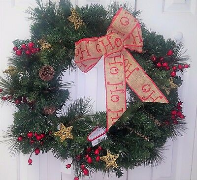 "(NEW) 30"" Decorative Christmas Holiday Wreath with HO HO HO Ribbon"