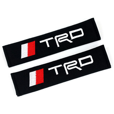 2 X TRD Cotton Black Seat Belt Cover Shoulder Pads 2pcs- TRD Sports/Corolla/RAV4