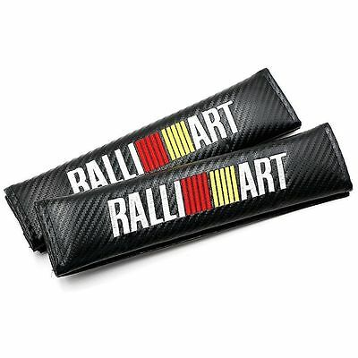 2 Pieces Ralliart Seat Belt Shoulder Pad Sleeve Carbon Fiber Black Mitsubishi