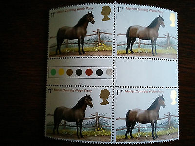 GB Mint & unmounted Merlyn Cymreig Welsh Pony - block of 4 x 11p stamps (1978)