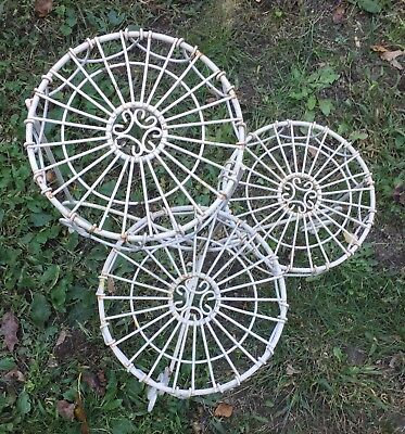 Vintage Ornate French Tiered Folding Metal Shabby Chic Plant Stand