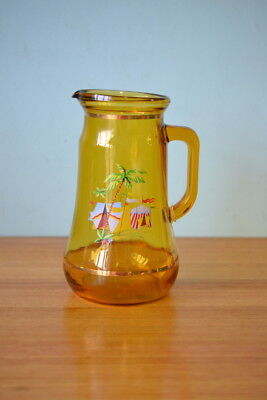 Vintage jug  retro kitsch palm tree jug amber tropical juice