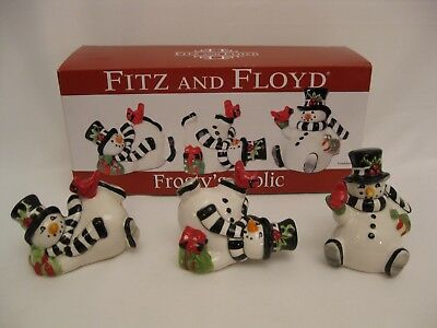 Fitz and Floyd Ceramic Frosty's Frolic Snowman Tumblers - retired