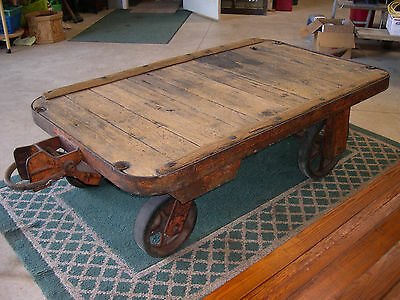 Rail Road Airport Industrial CART COFFEE TABLE antique man cave rustic vintage
