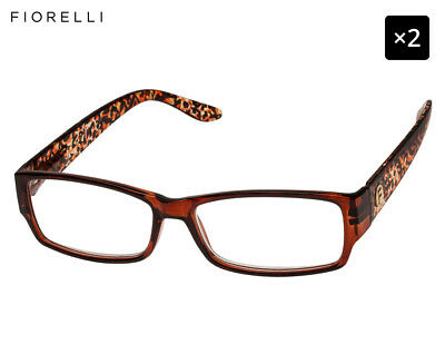 2 x Fiorelli Women's Catwalk Joanne Reading Glasses - Brown Leopard