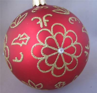 Waterford Holiday Heirlooms Red Flower Burst Ball Christmas Glass Ornament