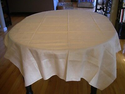 "Vintage Off- White Linen Damask Tablecloth 58"" x 100"" Rectangle"