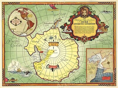 Admiral Byrd 1930s Antarctic Expedition Historic Map - 20x28