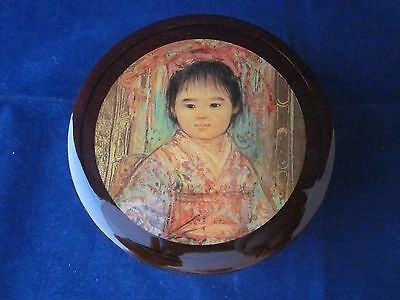 EDNA HIBEL Wood Box with Lid Jewelry Trinket SIGNED ~ EXCELLENT