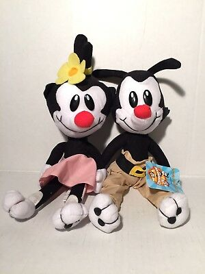 "Vintage Animaniacs Yakko & Dot 12"" Plush Warner Bros Ace 1994 Yakko w/Tags"