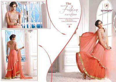 Peach Semi Stitched Heavy Embroidery Georgette Salwar Suit With Nazneen Dupatta