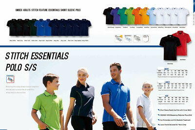 Men's Stitch Feature Essentials Short Sleeve Casual Team Polo Tops Anit Bacteria