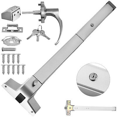 """30""""-36"""" Door Push Bar With Handle Panic Exit Device Silver Stainless Steel 70N"""