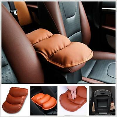 Car Auto Armrest Arm Rest Storage Box Case Mat Liner PU Cover Cushion Brown