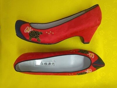 "Korean Traditional Hanbok Shoes for Women 235mm  6.5-size(9 3/16"") 6cm heels"