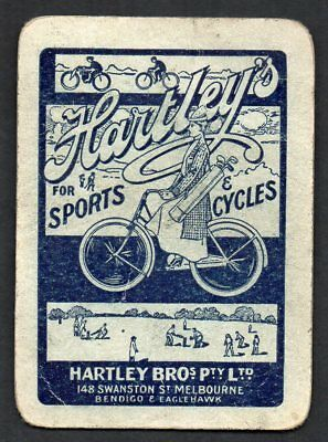 One Single Vintage Playing Swap Card :  AUSTRALIAN ADVERTISING HARTLEYS CYCLES