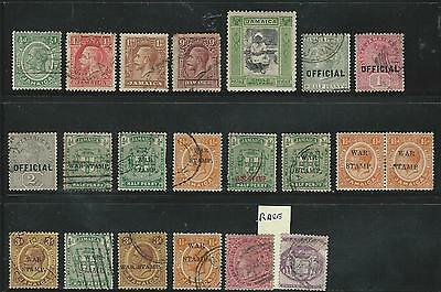 Jamaica: Few used stamps, 1 set and back to the book, 2 rare tax 1878 ... JA16