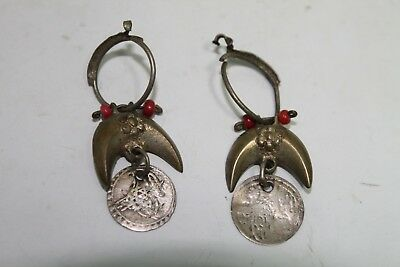 Antique Vintage Earring Woman  Balkan Ottoman Silver With Gold Plated And Corals