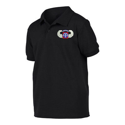 Military Black Polo shirt poloshirt 82ND AIRBORNE WING