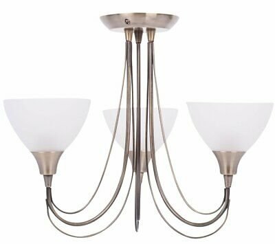 Antique Brass & Frosted Glass 3 Arm Semi Flush Ceiling Light Fitting Chandelier