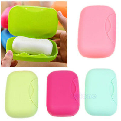 Bathroom Shower Wash Soap Box Dish Case Holder Container Plastic Travel Cover、