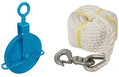 Gin Wheel - 250KG Scaffolders Scaffolding Fibre Rope Block Lifting Swivel Tube