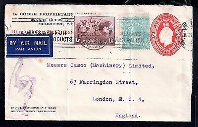 Australia KGV 1935 with 1s 4d Postal Stationery Air Mail cover WS6096