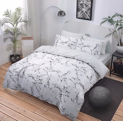 Marble Grey Reversible Duvet Cover Quilt Cover Bedding Set Pillowcases All Size