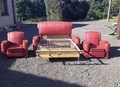Vintage red vinyl Sofa and Armchair 3 piece suite set, classic retro style 1956