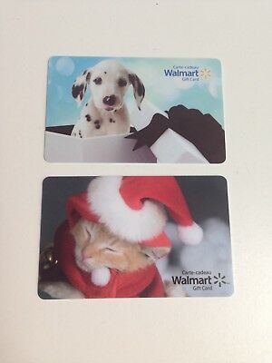 Lot of 2 WALMART Canada Christmas Puppy Cat Gift Cards ZERO $ Balance, No Value