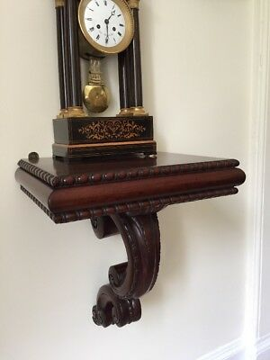 Late Victorian Mahogany Wall Bracket Supported on an Inverted 'S' shaped Corbel