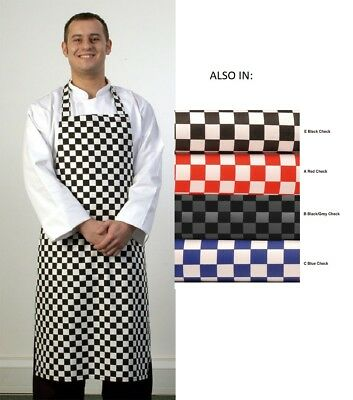 Check Design Bib Apron For Chefs Butcher Home Kitchen Cooking Craft Baking Bbq