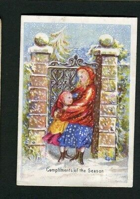 Victorian Christmas Card,small,early,2 Girls by Gates in Snowstorm.