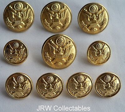 "Set WW2 Pattern:""US USAAF (& ARMY) OFFICER'S GILT BUTTONS"" (Service Dress Tunic)"