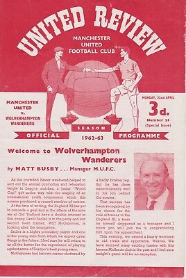 MANCHESTER UNITED v WOLVERHAMPTON WANDERERS ~ 22 APRIL 1963 ~ 4 PAGE ISSUE
