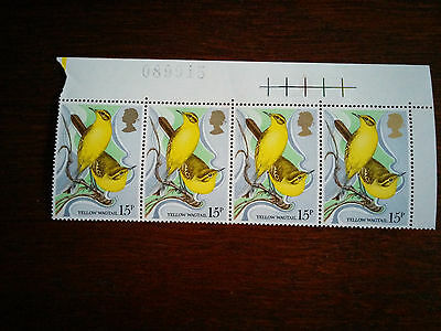 GB stamps Mint and unmounted Yellow Wagtail - strip of 4 x 15p stamps (1980)