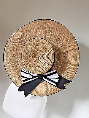 """Stunning Vintage 50's Straw 20"""" Wide Picture Hat Black & White Ribbon"""