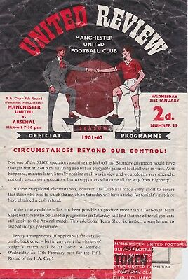 MANCHESTER UNITED v ARSENAL ~ FA CUP 4TH ROUND 31 JANUARY 1962 ~ 4 PAGE ISSUE