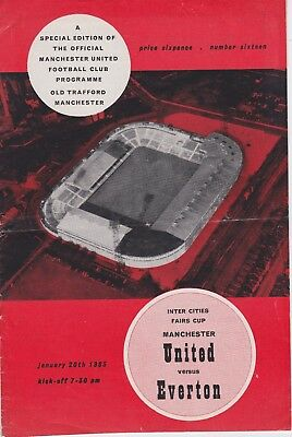 MANCHESTER UNITED v EVERTON ~ FAIRS CUP ~ 20 JANUARY 1965