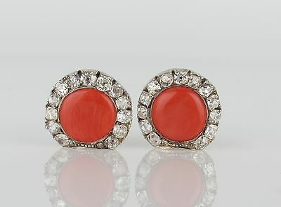 "Antique Salmon Coral and Old Cut Diamond ""Shell"" Earrings"