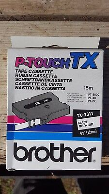 """Brother TX-2311 1/2"""" black on white P-touch Tape, TX2311 Genuine ptouch label"""