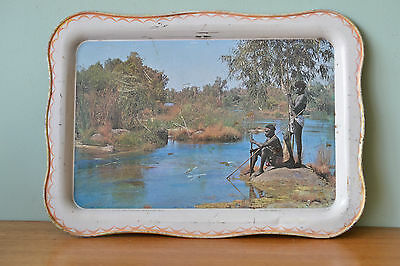 Vintage Willow tray Serving  metal Aboriginal  Roebuck Bay WA Australiana 3195