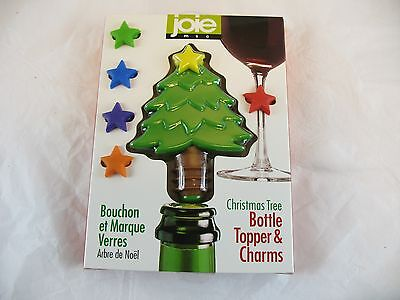 Joie Christmas Tree bottle stopper and 6 wine charms new in box